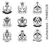 vintage weapon emblems set.... | Shutterstock .eps vector #794885128