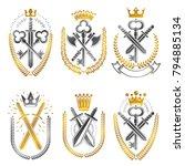 vintage weapon emblems set.... | Shutterstock .eps vector #794885134