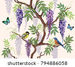 seamless vector floral summer...   Shutterstock .eps vector #794886058