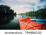kayaking on the lake concept... | Shutterstock . vector #794886220