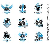 set of vector gym theme emblems ... | Shutterstock .eps vector #794890720