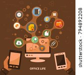 office life flat icon concept.... | Shutterstock .eps vector #794892208