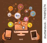 quiz flat icon concept. vector...   Shutterstock .eps vector #794892274