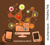 vegetables and fruits flat icon ...   Shutterstock .eps vector #794896798