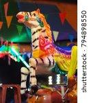 Closeup Shot At Zebra Seats Of...