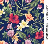 seamless floral pattern with... | Shutterstock .eps vector #794898844