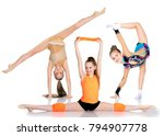 group of cheerful gymnast girls ... | Shutterstock . vector #794907778