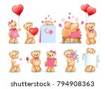 teddy bears collection on... | Shutterstock .eps vector #794908363