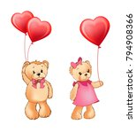teddy bear couple holding... | Shutterstock .eps vector #794908366