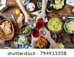 food concept friends at a... | Shutterstock . vector #794913358