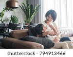 young happy asian mother... | Shutterstock . vector #794913466