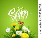 inscription hello spring on... | Shutterstock .eps vector #794914054