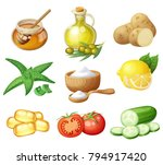 facial mask ingredients for...   Shutterstock .eps vector #794917420