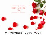Stock photo three red rose flowers and rose petals with text happy valentine s day isolated on white 794919973