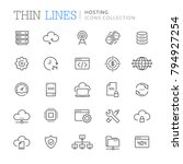 collection of hosting thin line ... | Shutterstock .eps vector #794927254