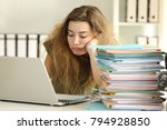 exhausted intern with tousled... | Shutterstock . vector #794928850