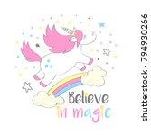 magic cute unicorn in cartoon... | Shutterstock .eps vector #794930266
