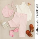 pink   white baby girl outfit | Shutterstock . vector #794938540
