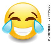 tear cry emoji smiley face...   Shutterstock .eps vector #794944330