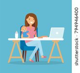 working mom   young woman... | Shutterstock .eps vector #794946400