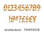 gold glittering metal alphabet  ... | Shutterstock .eps vector #794955478