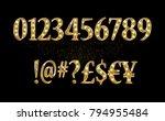 gold glittering metal alphabet  ... | Shutterstock .eps vector #794955484