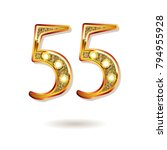 3d number fifty five in gold.... | Shutterstock .eps vector #794955928