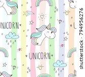 cute hand drawn unicorn pattern.   Shutterstock . vector #794956276