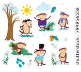 happy groundhog day set  cute... | Shutterstock .eps vector #794956558