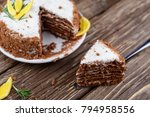 homemade cake with butter cream ...   Shutterstock . vector #794958556