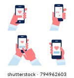 send or receive love sms ... | Shutterstock .eps vector #794962603
