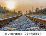 railroad during the sunset... | Shutterstock . vector #794965894