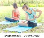 caucasian girl relaxing with... | Shutterstock . vector #794968909