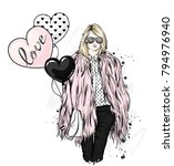 beautiful stylish girl in a fur ... | Shutterstock .eps vector #794976940