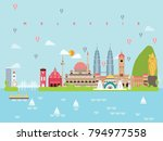 malaysia landmarks travel and... | Shutterstock .eps vector #794977558