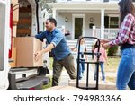 children helping unload boxes... | Shutterstock . vector #794983366