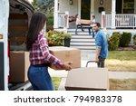 children helping unload boxes...   Shutterstock . vector #794983378