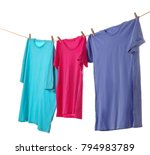 Stock photo clothes on laundry line against white background 794983789
