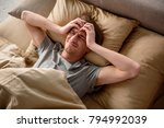 exhausted adult male suffering... | Shutterstock . vector #794992039