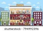 restaurant building indoors... | Shutterstock .eps vector #794992396