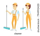 isolated cleaners couple in... | Shutterstock .eps vector #794992420