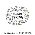 hello spring vector cartoon... | Shutterstock .eps vector #794992558