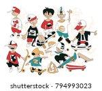 funny cartoon sketch of... | Shutterstock .eps vector #794993023