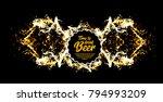 beer party. splash of beer with ... | Shutterstock . vector #794993209