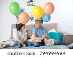 two smiling adolescent boys... | Shutterstock . vector #794994964
