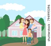family with house. happy...   Shutterstock .eps vector #794995396
