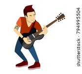 isolated man musician with... | Shutterstock .eps vector #794995504