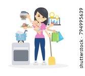 isolated multitasking woman... | Shutterstock .eps vector #794995639