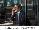 side view cheerful man talking... | Shutterstock . vector #794998930