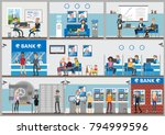 bank offices set. employees and ... | Shutterstock .eps vector #794999596
